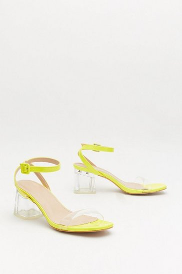 Womens Yellow Clear the Way Patent Block Heel Sandals