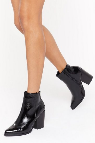 Womens Black Breaking Point Patent Faux Leather Boots