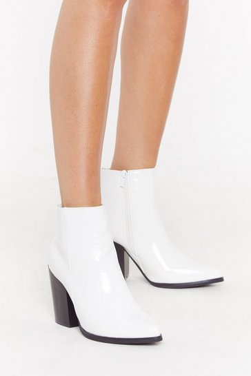 Womens White What's Your Ankle Patent Heeled Boots