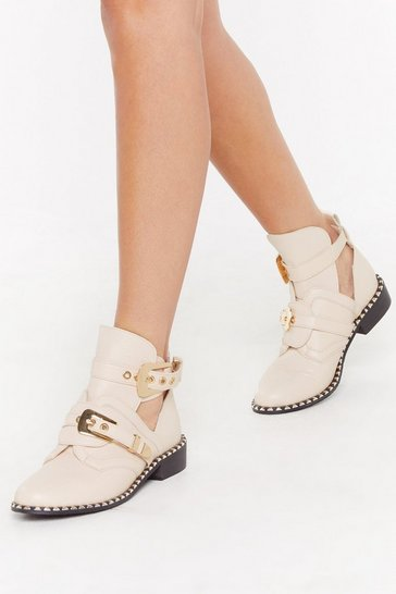 Womens Beige Walking Cut-Out On You Studded Faux Leather Boots