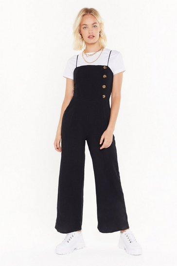 Womens Black Hit That Button Wide-Leg Jumpsuit