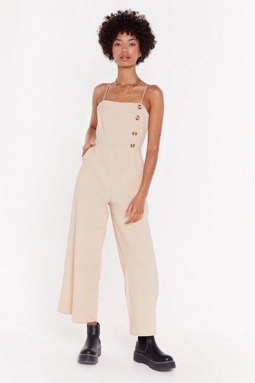 Womens Ecru Hit That Button Wide-Leg Jumpsuit
