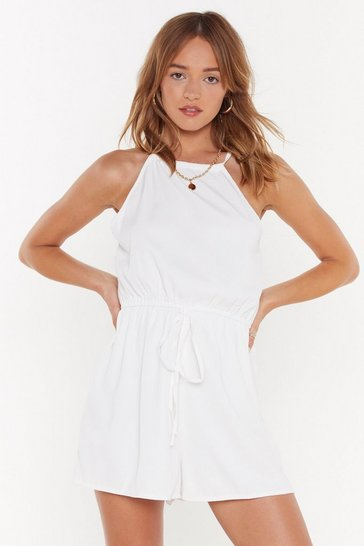Womens White That's a Strap Drawstring Tie Romper