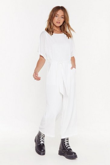 Womens White Keep on Hustling Crew Neck Belted Boilersuit