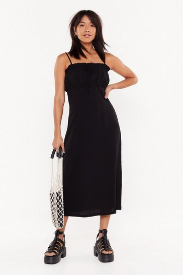 Womens Black In My Strappy Place Ruffle Midi Dress