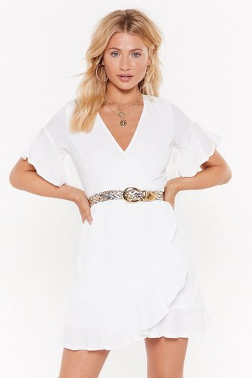 Womens White No Strings Wrap Mini Dress