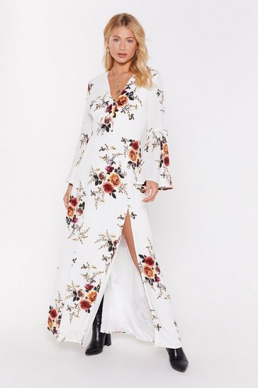Womens White Take the Flower Back Floral Maxi Dress