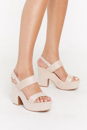 Womens Nude Notch This Again Faux Suede Platform Heels