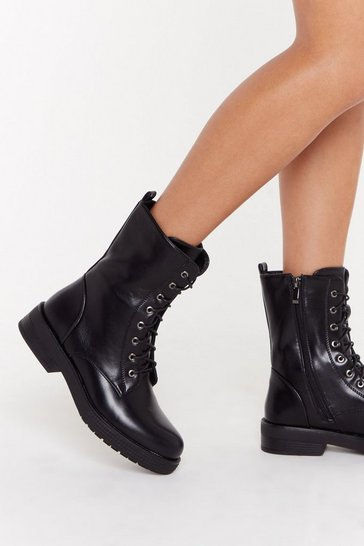 Womens Black Not the Lace Faux Leather Lace-Up Boots