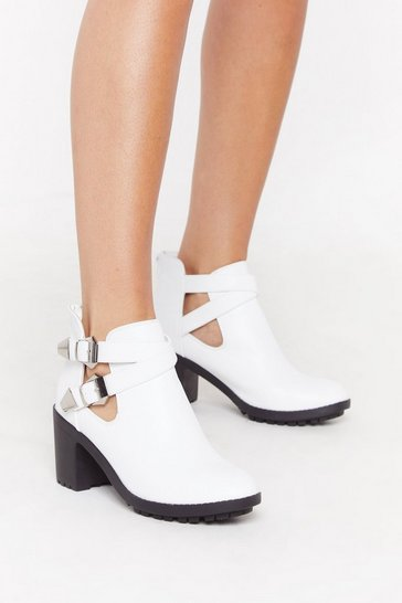 Womens White Cut-Out of Time Doube Buckle Boots