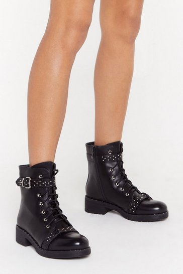 Womens Black You Never Stud a Chance Faux Leather Boots