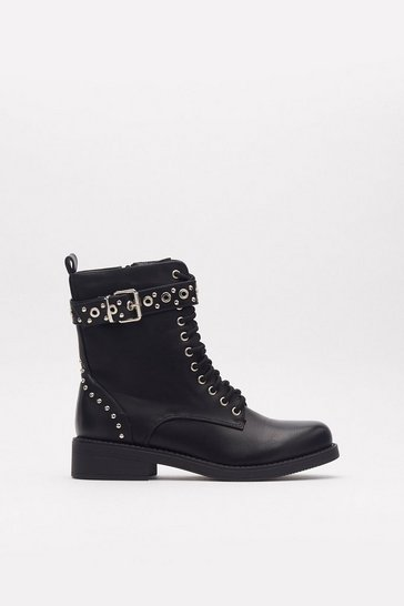 Womens Black Got a Wandering Eyelet Studded Faux Leather Boots