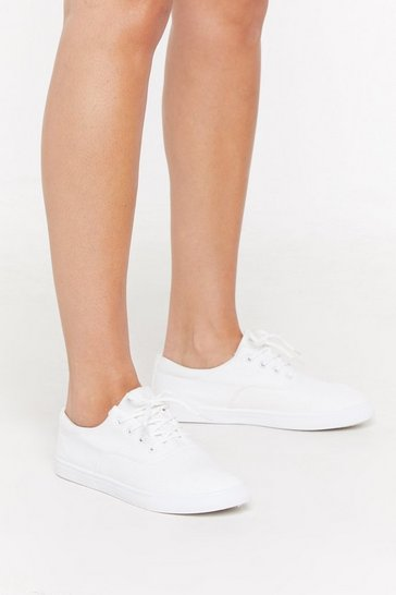Womens White Canvas Basic Lace Up Trainers
