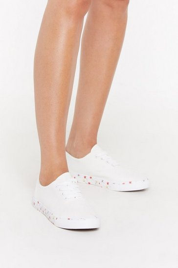 Womens White Floral Sole Canvas Lace Up Trainers