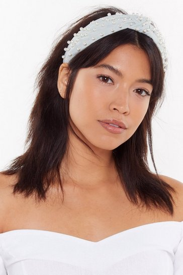 Womens Mint Pearls Like You Embellished Knot Headband