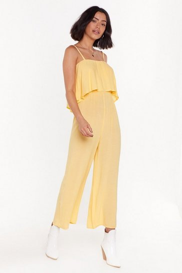 Womens Yellow Heard Your a Layer Wide-Leg Jumpsuit