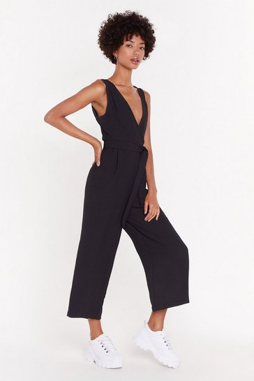 Womens Black Don't Stop V Now Wide-Leg Jumpsuit
