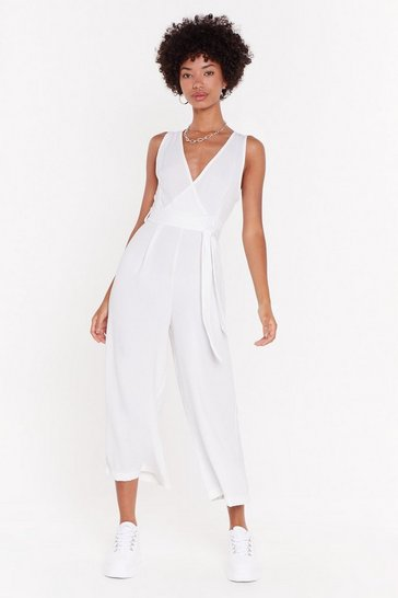 Womens White Don't Stop V Now Wide-Leg Jumpsuit