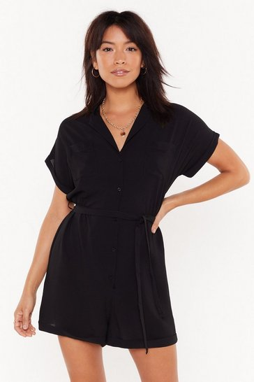 Womens Black Collar My Name Button-Down Belted Romper