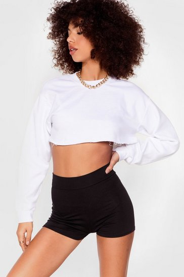 Black High-Waisted Fitted Shorts with Stretch Waist