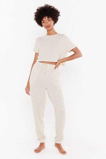 Womens Oatmeal We've Got the Chill Factor High-Waisted Joggers