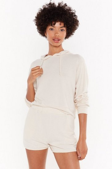 Womens Oatmeal We've Got the Chill Factor Cropped Hoodie
