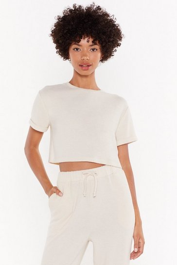 Womens Oatmeal We've Got the Chill Factor Crop Top