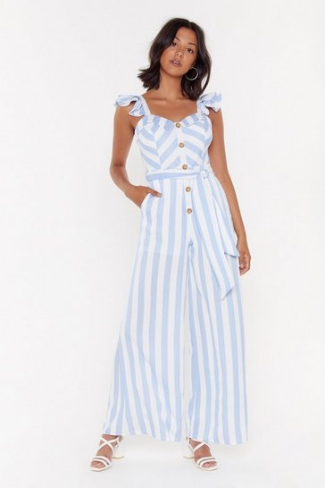 Womens Blue Stripe Hand Rule Wide-Leg Button-Down Jumpsuit