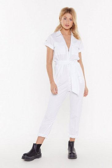 Womens White Utility Jumpsuit