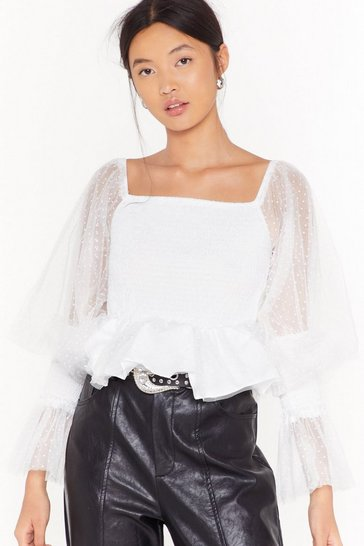 Womens White Dobby Mesh Sleeve Shirred Blouse