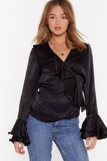 Womens Black I Like It Ruffle Satin Blouse