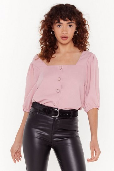 Womens Blush Ready-to-Square Neck Relaxed Blouse