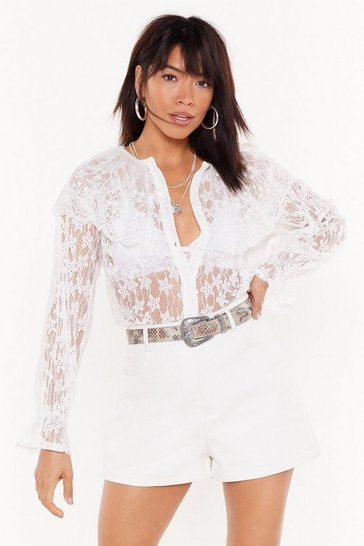 Womens White Cool Down the Lace Embroided Blouse