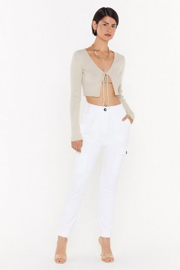 Womens White Pocket Full of Dreams Utility Jeans