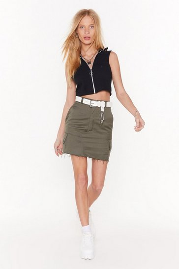 Khaki Pocket Down High-Waisted Mini Skirt