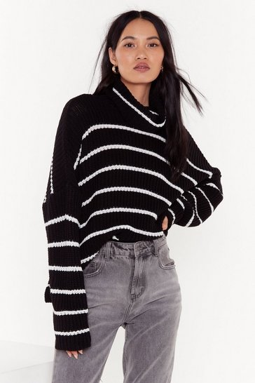 Womens Black In the Stripe Direction Knitted Turtleneck Sweater