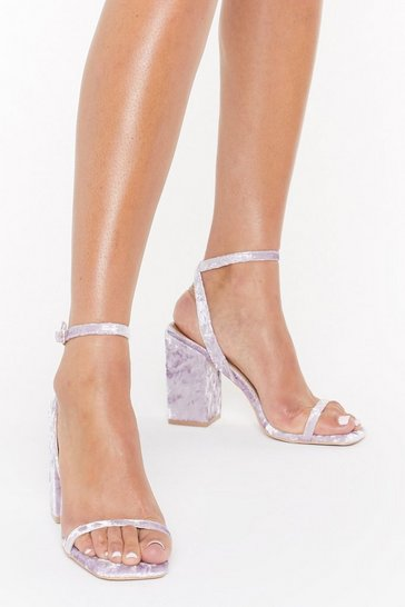 Womens Lilac Smooth Dancer Velvet Block Heel Sandals