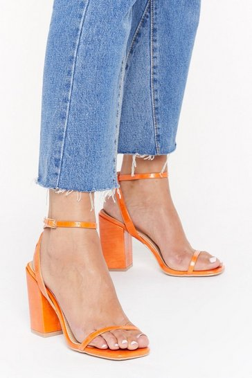 Womens Orange I Won't Square Block Heel Sandals