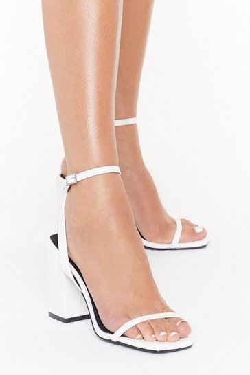 Womens White I Won't Square Strappy Block Heel Sandals