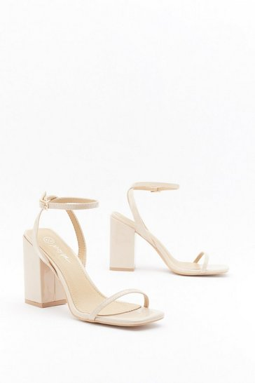 Womens Nude I Won't Square Strappy Block Heel Sandals