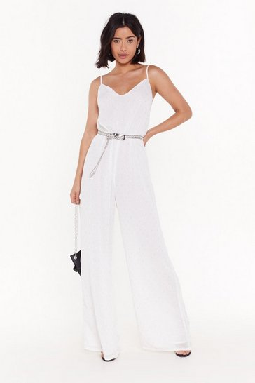 White Shine a Little Love Metallic Wide-Leg Jumpsuit