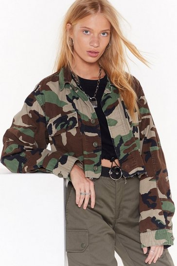 Womens Khaki Nasty Gal Vinatge March Out Camo Jacket