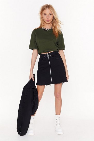 Womens Black Nasty Gal Vintage Top Zip Denim Skirt