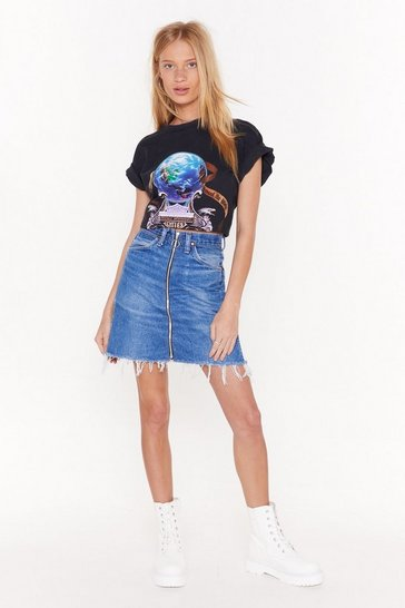 Womens Blue Nasty Gal Vintage Top Zip Denim Skirt