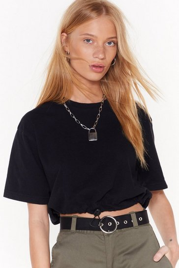 Womens Black Nasty Gal Vintage Draw Their Attention Cropped Tee