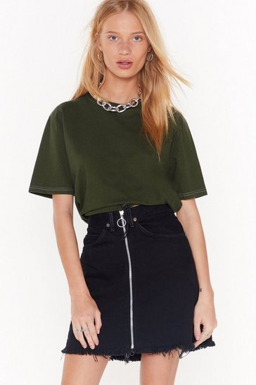 Womens Green Nasty Gal Vintage Draw Their Attention Cropped Tee