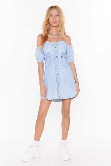 Womens Blue Nasty Gal Vintage Bust fo Life Denim Dress