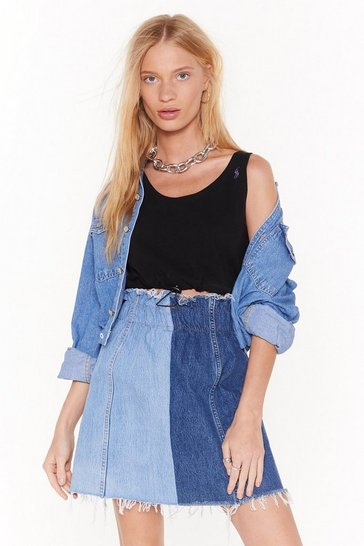 Womens Blue Tone it Down Two-Tone Denim Skirt