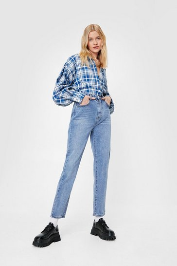 Mid blue Straight Leg High Waisted Jeans
