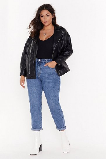 Womens Mid blue Debbie High-Waisted Plus Mom Jeans